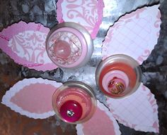 Pink Button Flower Magnets