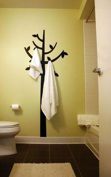 Paint tree & add hooks Loft Living - modern - bathroom - boston - by Emily Elizabeth Interior Design Diy Casa, Deco Design, Design Design, Modern Design, Home And Deco, Tree Wall, Home Organization, My Dream Home, Home Projects