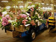 I love the flowers outpouring from their crates