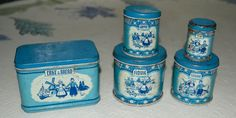 Vintage Dolls Dutch blue delft Tins Tea Flour by honeybeepollen