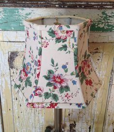 French Country Lamp Shade Hex Bell Small Floral Lampshade Clip Top Pink and Green Vintage Cotton Farmhouse Decor by lampshadelady on Etsy #FarmhouseLamp