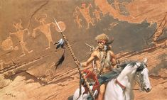 "In the Land of the Ancient Ones by Frank C. McCarthy MW ANNIVERSARY CANVAS Image size: 40""w x 24""h."