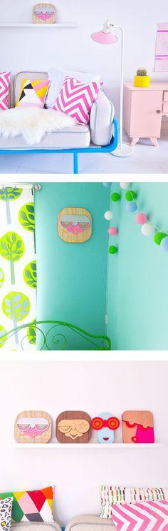 Colorful Wall Art, Wall Décor, Coin Purse, Interior Design, Wallpaper, Wood, Instagram, Decor, Nest Design