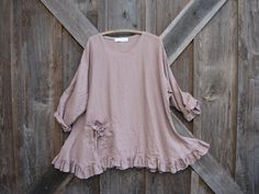 linen tunic in dark dusty mauve this color is sold out but other colors available. $145.00, via Etsy.