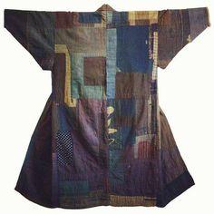 Cotton boro kimono from Japan's Tohoku- North west region of Japan.