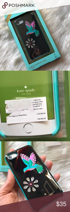 Kate Spade Jeweled Hummingbird iPhone 6/7/8 Case Kate Spade Jeweled Hummingbird iPhone 6/7/8 Regular Case. NWT. Only opened to photograph. Box is a little torn but otherwise excellent condition. Two piece design case with rubber bumper and resin with glass stone outer shell. Fits the Regular sized iPhone 6/6s, 7 and the new 8! kate spade Accessories Phone Cases