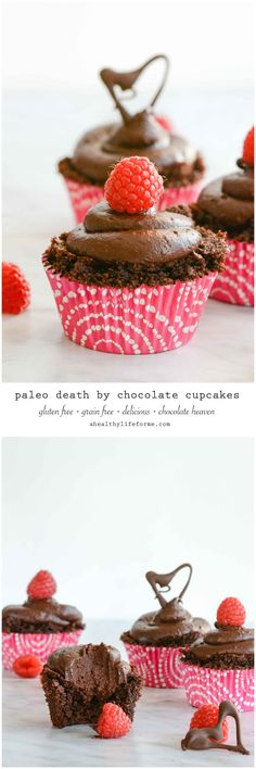 Paleo Death By Chocolate Cupcake Recipe is gluten free grain free delicious decadent perfect for Valentine's Day   ahealthylifeforme.com