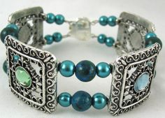 Exquisite blue green quartzite beaded bangle bracelet metal slider