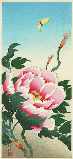 hanga gallery . . . torii gallery: Peony and Butterfly by Ohara Koson