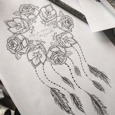 Rose and mandala dream catcher to go around my customers original tattoo…