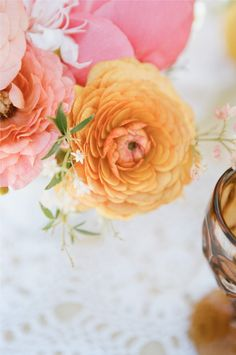 wonderful flowers from a fresh pink, orange, yellow wedding