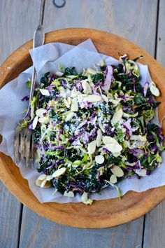 Shredded kale and Brussell sprouts salad