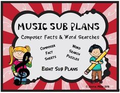 *** $5.00 ***This product is great for DISTANCE LEARNING as well as the elementary Music classroom!Overview: This product includes eight easy Music Sub Plans for 2nd - 5th. Each lesson is built around students learning some facts about a composer. Each includes a word search puzzle using words fro... Music Education Activities, Physical Education, Teaching Resources, Teaching Ideas, Teaching Music, Health Education, Music Sub Plans, Music Classroom, Music Teachers