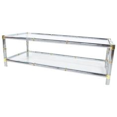 Image of Chrome Brass and Glass Coffee Table by Jansen