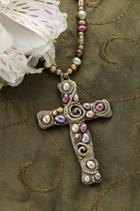 Colored Freshwater Pearl Cross Necklace                                                                                                                                                                                 More