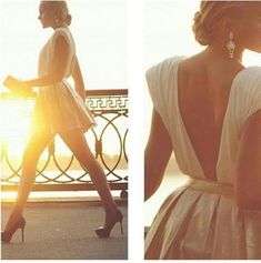 open back dress beautiful dresss prom dress beige dress open back dresses pleated gold white dress white and gold dress mini dress Parisienne Chic, Beige Dresses, Prom Dresses, Summer Dresses, Style Blog, Day Party Outfits, Style Personnel, Silvester Party, Open Back Dresses