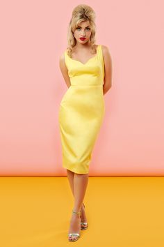 The Peggy Dress - Yellow 50s/60s retro vintage style wiggle dress in cotton. Kitsch sexy bombshell jane mansfield look Tara Starlet