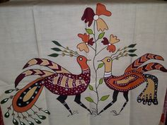 77x21 Cream Indian Tussar Silk Scarf Hand Painted Long Scarf (J14526). $27.99, via Etsy.