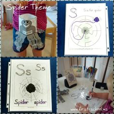 Free spider theme printable activities and crafts @ First-School for toddlers, preschool and primary.