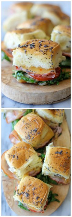 OMG how yummy! Baked Ham and Cheese Sliders - These sweet Hawaiian bread sliders are popped in the oven until they're completely buttery and oozing with melted cheese! So perfect for game day! I Love Food, Good Food, Yummy Food, Hawaiian Bread Sliders, Sandwich Jamon Y Queso, Baked Ham, Pizza, Ham And Cheese, Baked Cheese