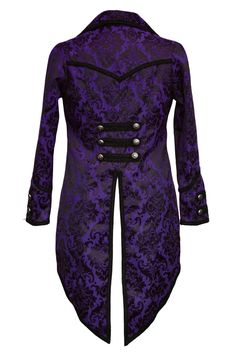 Dark Star Gothic Tailcoat, Steampunk Pirate Brocade Coat - Purple/Black - Click to enlarge