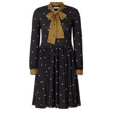 Orla Kiely- Tumbling Hedgehog Print Jersey Bow Neck Dress