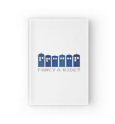 'Fancy a ride?' Hardcover Journal by nath-gary Tardis, V Neck T Shirt, Chiffon Tops, Classic T Shirts, Nerd, Geek Stuff, Fancy, Journal, Writing