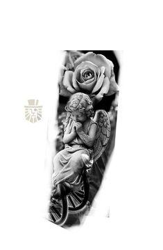 Angel Tattoo Designs, Tattoo Sleeve Designs, Jesus Tattoo Design, Neck Tattoo For Guys, Half Sleeve Tattoos For Guys, Dope Tattoos, Forearm Tattoos, Half Sleeve Tattoos Drawings, Heaven Tattoos