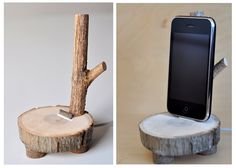 How about a DIY Tree Branch iPhone/iPod Dock? If you've got a drill, some sort of saw, and a spare iPod USB cable, you can whip one up in an hour or two for absolutely free! Cool Diy, Easy Diy, Diy Wood Projects, Wood Crafts, Diy Phone Stand, Ipad Stand, Laptop Stand, Wood Phone Holder, Enchanted Wood