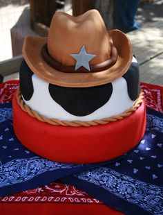 I'm thinking western theme for his birthday party and this cake is adorable!