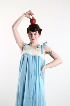 Antique Night Gown  Blue Cotton Lingerie Crochet Negligêe \\ VeraVague //