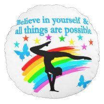 BELIEVE IN YOURSELF GYMNASTICS QUOTE ROUND PILLOW http://www.zazzle.com/mysportsstar/gifts?cg=196751399353624165&rf=238246180177746410   #Gymnastics #Gymnast #WomensGymnastics #Gymnastgift #Lovegymnastics #Gymnastquote