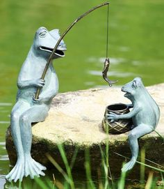 Found It At Wayfair   Fishing Frog Mama And Baby Garden Statue