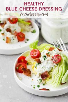 This creamy homemade blue cheese dressing is loaded with chunks of pungent blue cheese and is perfect for dipping or spooning on a salad. Blue cheese lovers, this one's for you! Homemade Dressing Recipe, Creamy Salad Dressing, Buffalo Chicken Sandwiches, Blue Cheese Dressing, Eating Light, Cauliflower Bites, Cheese Lover, Healthy Salad Recipes, Kid Friendly Meals