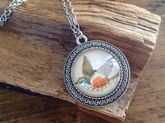 Pendant made with vintage bird illustration Bird Illustration, Etsy Seller, Pendant Necklace, Trending Outfits, Unique Jewelry, Handmade Gifts, Vintage, Kid Craft Gifts, Craft Gifts