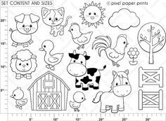 Farm Animals Digital Stamps por pixelpaperprints en Etsy