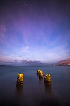 Old Pier on a Starry Night at sugar beach, maui, hawaii