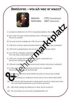 M -Beethoven - Wie alt war er wann? – Unterrichtsmaterial in den Fächern Mathematik & Musik War, Author, Mom Died, Learning Piano, Piano Classes, Play Based Learning, Teaching, Mathematics, Teaching Materials