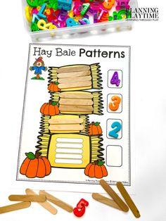 Use Hay Bales to work on Patterns & Number Counting!! Pumpkin Worksheets Preschool