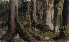 Forest, study 1872 - oil on canvas - Metsäharjoitelma 1872 – öljy kankaalle, kiinnitetty vanerille – Fanny Churberg (1845-1892), Ateneumin taidemuseo