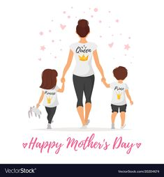 Vector cartoon style illustration of happy mother with children in t-shirts with golden crowns. Mother's day greeting card template on white background.