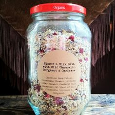 Handcrafted Flower & Milk Bath Soak with Cardamom, Bergamot & Wild Chamomile Essential Oils.  So easy to make!!