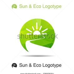 Ecology green logotype, icon and nature symbol: sun, river (water) in circle