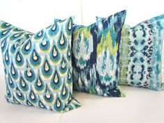 DARK BLUE PILLOW 12x18 16x20 Decorative by SayItWithPillows