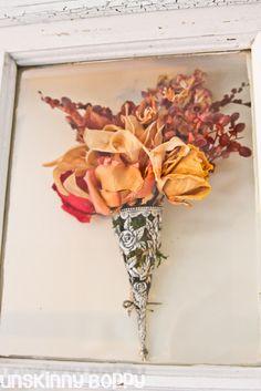 DIY Wooden Window Shadowbox to frame a preserved wedding bouquet