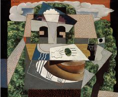 Pablo Picasso, Still Life in a Landscape, 1915 . Oil on canvas. Pablo Picasso, Kunst Picasso, Art Picasso, Picasso And Braque, Picasso Paintings, Kandinsky, Klimt, Matisse, Picasso Still Life