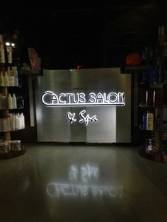 Interior design and signage can work really well together! How about this custom fabricated stencil cut push thru illuminated reception counter- even when Cactus is closed their brand is working through the night as seen from this sidewalk view. To see more of our channel letter projects, visit our web site at http://www.ssar.com/products_services/channel_gallery.html