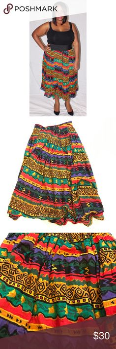 "Vintage ethnic gauzy skirt plus size Vintage ethnic gauzy skirt plus size. Fixed waistband with drawstring tie. 20"" waist, 28"" long, free hip. Vintage Skirts"