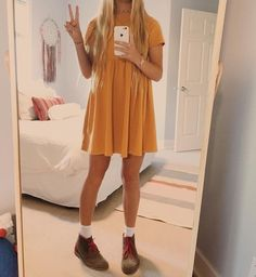 Yellow babydoll dress with lace-up booties Banquet dresses 2020 Mode Outfits, Trendy Outfits, Fashion Outfits, Girly Outfits, Work Fashion, Fashion Clothes, Fashion Fashion, Fashion Tips, Legging Jeans