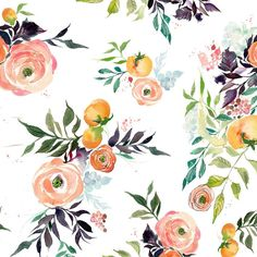 Kristy is offering a limited selection of her favorite floral patterns in fabric yardage featuring her Fruits and Blooms artwork. A tangle of leaves, vines, peaches, rununculus blooms and kumquats giv